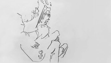 Blind drawing of Toro // on paper