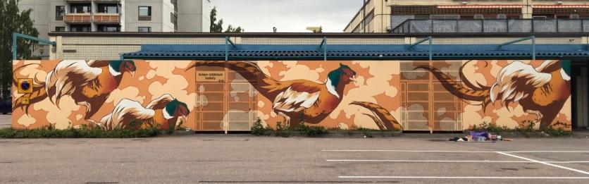 Pheasant mural for Hakunila mall, Vantaa 2017